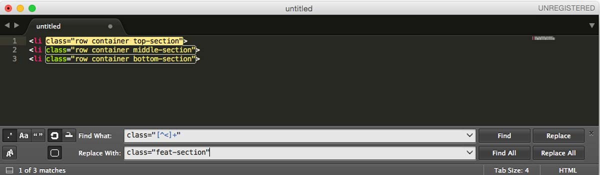 Sublime Text find and replace regex